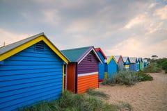 Camera di spiaggia variopinta a Brighton Beach, Melbourne fotografia stock