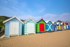 Camera di spiaggia variopinta a Brighton Beach, Melbourne fotografia stock libera da diritti