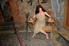 Camera di tortura nel castello di Hunedoara, chiamato castello di Corvin in Transilvania Immagine Stock Libera da Diritti