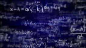 Camera die door wiskundige vergelijkingen en formules vliegen stock illustratie