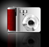 Camera. A digital compact camera made in Photoshop Stock Photo