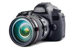Camera. Digital  Lens SLR  Isolated Photography Body royalty free stock photos