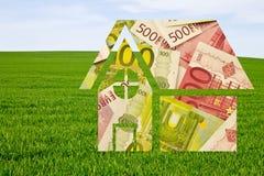 Camera disegnata fatta di euro note Fotografie Stock