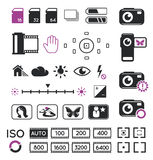 Camera display icons and symbols Royalty Free Stock Images
