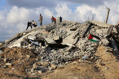 Camera distrutta in Al Zana, Gaza Fotografie Stock
