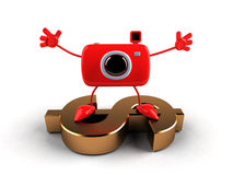 Camera on a dollar Royalty Free Stock Photos