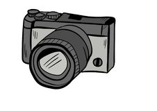 Camera doodle icon vector with white background royalty free stock image