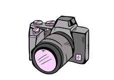 Camera doodle icon vector with white background royalty free stock photos