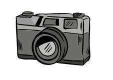 Camera doodle icon vector with white background stock photos