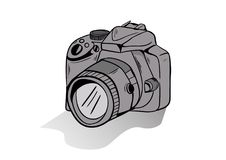 Camera doodle icon vector with white background stock photo