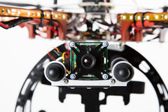 Camera on Drone. Close up of spy camera attached to drone Stock Images