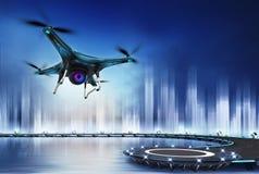 Camera drone flight over heliport Royalty Free Stock Photos