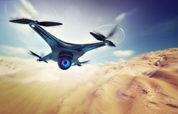 Camera drone flying over dry desert. Futuristic black drone nature exploration 3D illustration Royalty Free Stock Photo