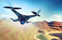 Camera drone flying over dry mountain coast. Futuristic black drone nature exploration 3D illustration Royalty Free Stock Photo