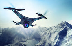 Camera drone flying over glacier rocky mountains. Futuristic black drone nature exploration 3D illustration Stock Photos