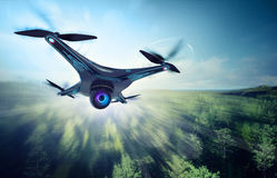 Camera drone flying over green woods. Futuristic black drone nature exploration 3D illustration Stock Image