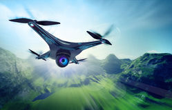 Camera drone flying over jungle hills. Futuristic black drone nature exploration 3D illustration Royalty Free Stock Photo