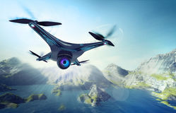 Camera drone flying over lake with mountains. Futuristic black drone nature exploration 3D illustration Stock Image