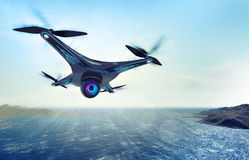 Camera drone flying over sea water. Futuristic black drone nature exploration 3D illustration Stock Image