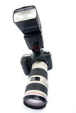 Camera DSLR met zoomlens. royalty-vrije stock foto