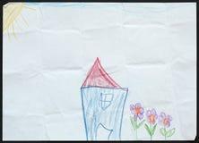 Camera e fiori blu Illustrazione del bambino Immagini Stock