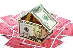 Camera e schede dei soldi Fotografia Stock