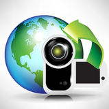 Camera and earth globe Royalty Free Stock Images