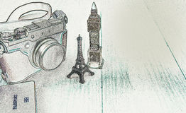 Camera, Eiffel Tower model, Big Ben model, Passport. Illustration with copy space Royalty Free Stock Image