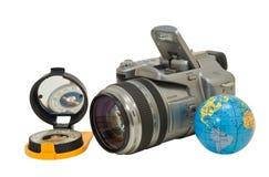 Camera en kompas 3 royalty-vrije stock fotografie