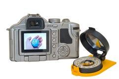 Camera en kompas 5 royalty-vrije stock fotografie
