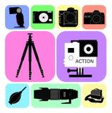 Camera en zijn toebehoren Stock Foto