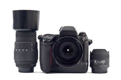Camera equipement. Lenses and camera - Photographic equipement royalty free stock photos