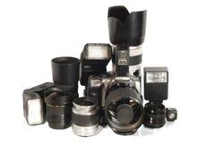 Camera equipment. Lens, flash etc Stock Image