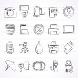 Camera equipment and photography icons Royalty Free Stock Photos