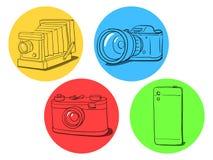 Camera evolution illustration Stock Images