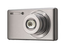 Camera with eyeball. Compact Camera with eyeball on white background Royalty Free Stock Photo