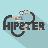 Camera And Eyeglasses In Hand With Hipster Typography Design Stock Photo