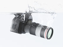 Camera. Falling into clear water vector illustration