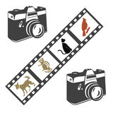 Camera and film. Icons on white background Royalty Free Stock Photo