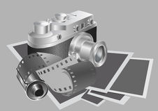 Camera and film against the background of the photos. Vector illustration Stock Photos