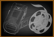 Camera and a film on black. Background. Drawing. 3d model Royalty Free Stock Images