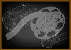 Camera and a film on black. Background. Drawing. 3d model Stock Image