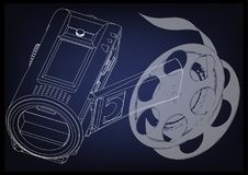 Camera and a film on blue. Background. Drawing. 3d model Royalty Free Stock Image