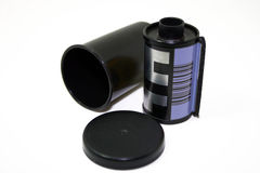 Camera film and container. Photo of Camera film and container Royalty Free Stock Photography