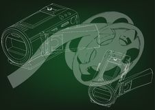 Camera and a film on green. Background. Drawing. 3d model Stock Image