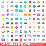 100 camera and film icons set, cartoon style. 100 camera and film icons set in cartoon style for any design vector illustration Royalty Free Illustration
