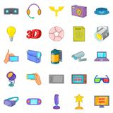 Camera film icons set, cartoon style Royalty Free Stock Photography