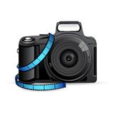 Camera with Film Reel. Illustration of camera with film reel stripe Stock Image