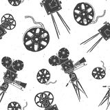 Camera and film reel vintage seamless pattern, handdrawn   Stock Image