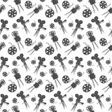 Camera and film reel vintage seamless pattern, handdrawn sketch  Stock Photo
